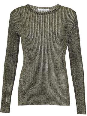 IRO Metallic Ribbed-Knit Top