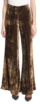 Co Metallic Crinkle-Velvet Palazzo Pants, Brown