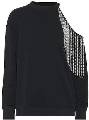 Christopher Kane Rhinestone cutout cotton sweatshirt
