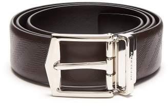 Burberry Embossed Reversible Leather Belt - Mens - Black Brown