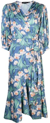 PatBO floral midi wrap dress