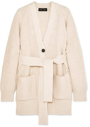 Proenza Schouler Belted Ribbed Cotton-blend Cardigan - Off-white