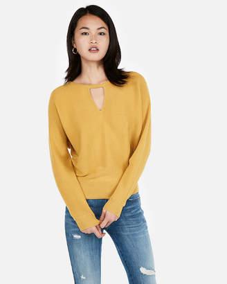 Express Horizontal Rib Cut-Out Dolman Sweater