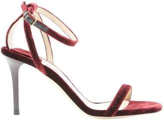 Jimmy Choo Burgundy Velvet Sandals