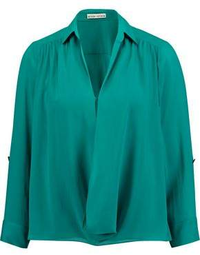 Alice + Olivia Lalita Draped Silk-Blend Blouse