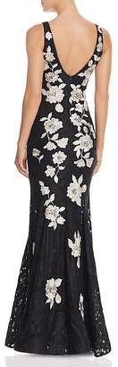 Avery G Embroidered-Back Lace Gown