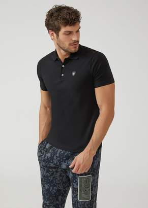 Emporio Armani Ea7 Stretch Cotton Jersey Polo Shirt With Maxi-Logo On The Back