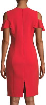 Elie Tahari Johari Ruffle-Sleeve Sheath Dress