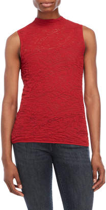 Lafayette 148 New York Red Knitted Lace Top