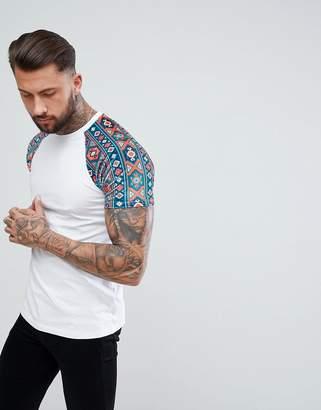 Asos Raglan T-Shirt With Geo-Tribal Velour Printed Sleeves