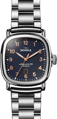 Shinola Men's The Guardian Men's 41.5mm x 43mm Polished Stainless Steel Watch with Midnight Blue Dial