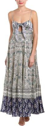 Rococo Sand Hemant and Nandita Stamp Silk Maxi Dress