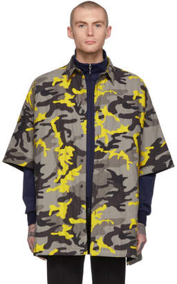 Balenciaga Grey and Yellow Camo Padded Shirt