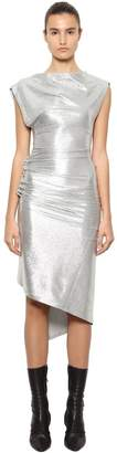 Paco Rabanne Draped Stretch Lurex Jersey Midi Dress