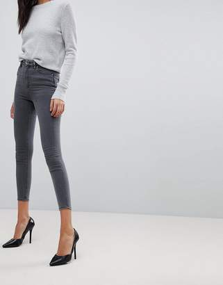 Asos DESIGN Ridley high waist skinny jeans in gray