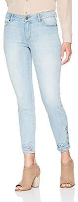 Denim Crush Women's Intricate Cut Out Ankle Embroidered Skinny Jean