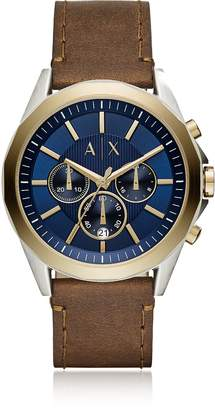 Armani Exchange Drexler Blue Dial and Brown Leather Men's Chronograph Watch
