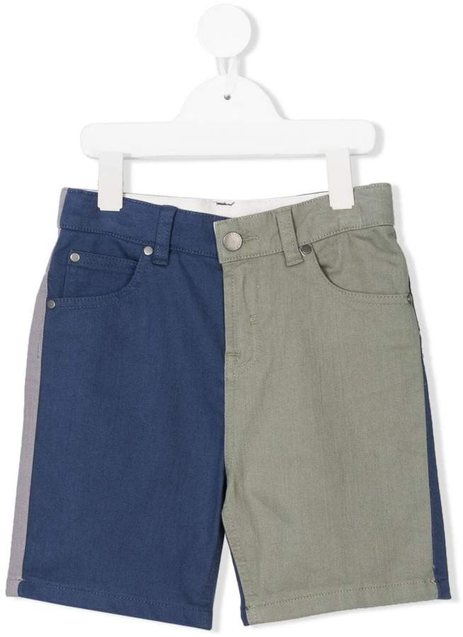 color block denim shorts