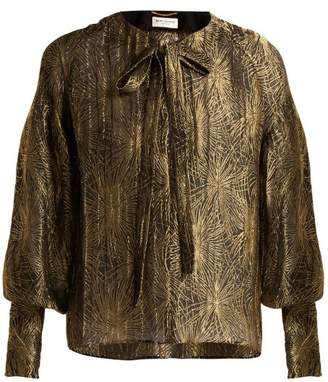 Saint Laurent Firework Jacquard LamA Blouse - Womens - Black Gold
