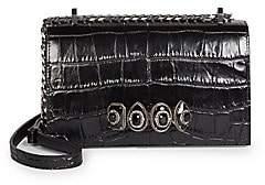 Alexander McQueen Women's Jewelled Croc-Embossed Leather Satchel