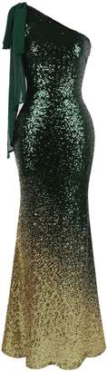Angel-fashions Women's Asymmetric Ribbon Gradient Sequin Mermaid Long Dress (M, )