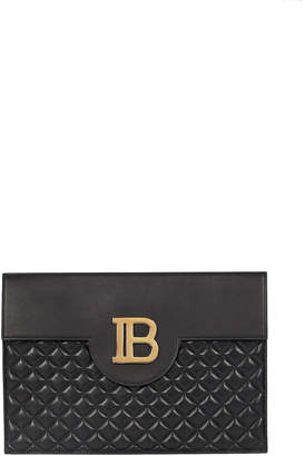 Balmain B-Pouch Quilted Envelope Clutch