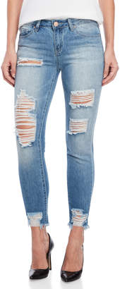 YMI Jeanswear Distressed Mid-Rise Ankle Jeans