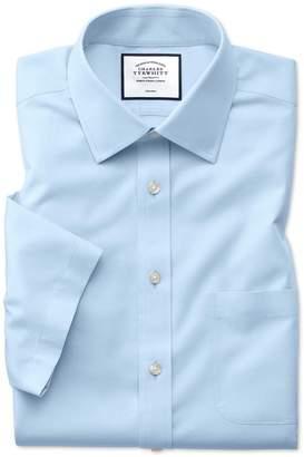 Charles Tyrwhitt Slim Fit Non-Iron Sky Blue Natural Cool Short Sleeve Cotton Dress Shirt Size 14.5/Short