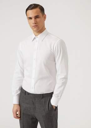 Emporio Armani Micro-Weave Pure Cotton Shirt With Classic Collar
