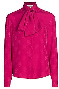 Gucci Women's Silk Crepe GG Rose Jacquard Blouse with Removable Tie
