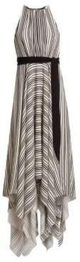 Halston Women's Sleeveless Strip Back Striped Handkerchief Dress - Black Buff - Size 0