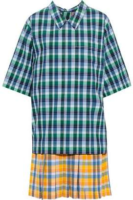 Thom Browne Layered Checked Cotton And Silk-blend Seersucker Dress