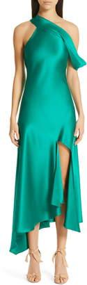 Cushnie One-Shoulder Silk Slip Dress