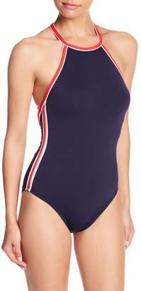 Nautica High Neck Retro Stripe One-Piece Swimsuit