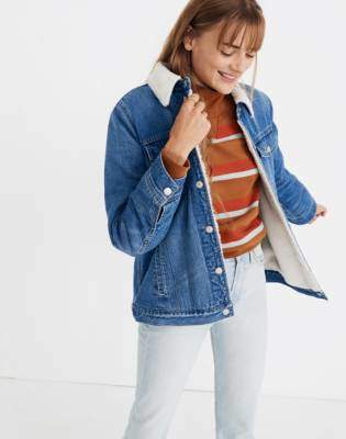 The Oversized Jean Jacket in Pinehill Wash: Sherpa Edition