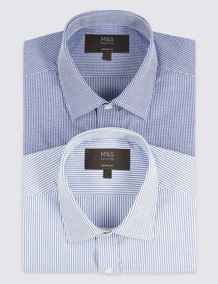 M&S CollectionMarks and Spencer 2 Pack Short Sleeve Regular Fit Shirts