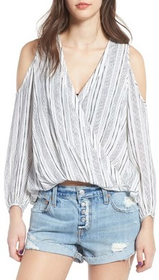 Women's Lush Surplice Cold Shoulder Blouse $45 thestylecure.com
