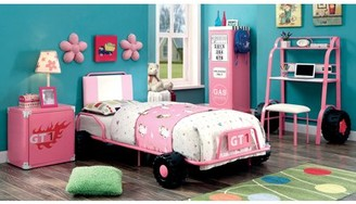 Furniture of America Vroom Pink Race Car Bed