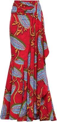 Stella Jean Draped Crepe Maxi Skirt