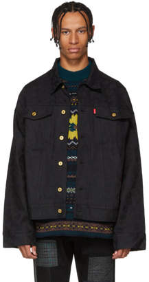 Landlord Black Leopard Jacquard Denim Jacket