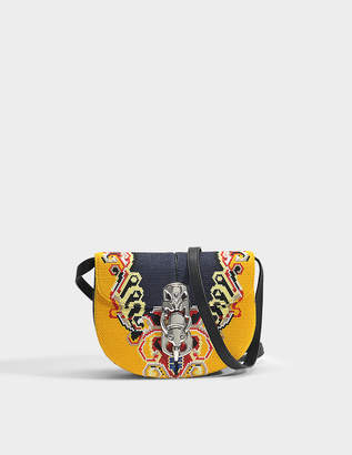 Loewe Lapin Embroidered Bag in Yellow and Black Canvas and Calfskin