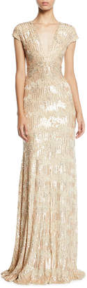 Pamella Roland Sequined and Crystal Georgette V-Neck Gown