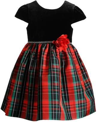 Youngland Toddler Girl Plaid Velvet Dress