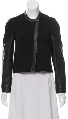 Helmut Lang Leather-Trimmed Collarless Jacket