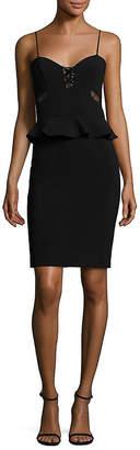 Parker Sachi Lace-Up Combo Peplum Dress