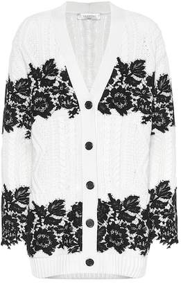Valentino Lace-trimmed virgin wool cardigan