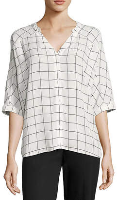 WORTHINGTON Worthington 3/4 Sleeve Boxy Dolman Shirt - Tall