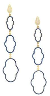 Azaara 22K Yellow Gold-Dipped Cubic Zirconia Drop Earrings