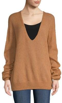 Free People Wool-Blend V-Neck Sweater