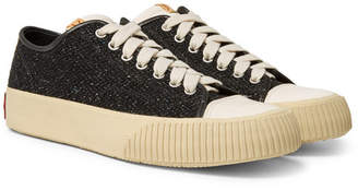 Visvim Skagway Leather-Trimmed Wool-Tweed Sneakers - Black